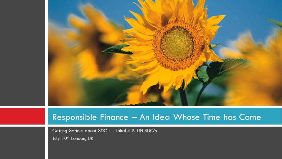 Cover of Responsible Finance - An Idea whose time has come - Takaful & UN SDG's
